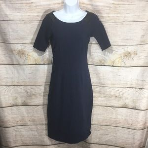C wonder navy blue dress with leather shoulders XS
